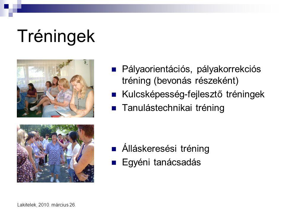 Tréningek Pályaorientációs, pályakorrekciós tréning (bevonás részeként) Kulcsképesség-fejlesztő tréningek.