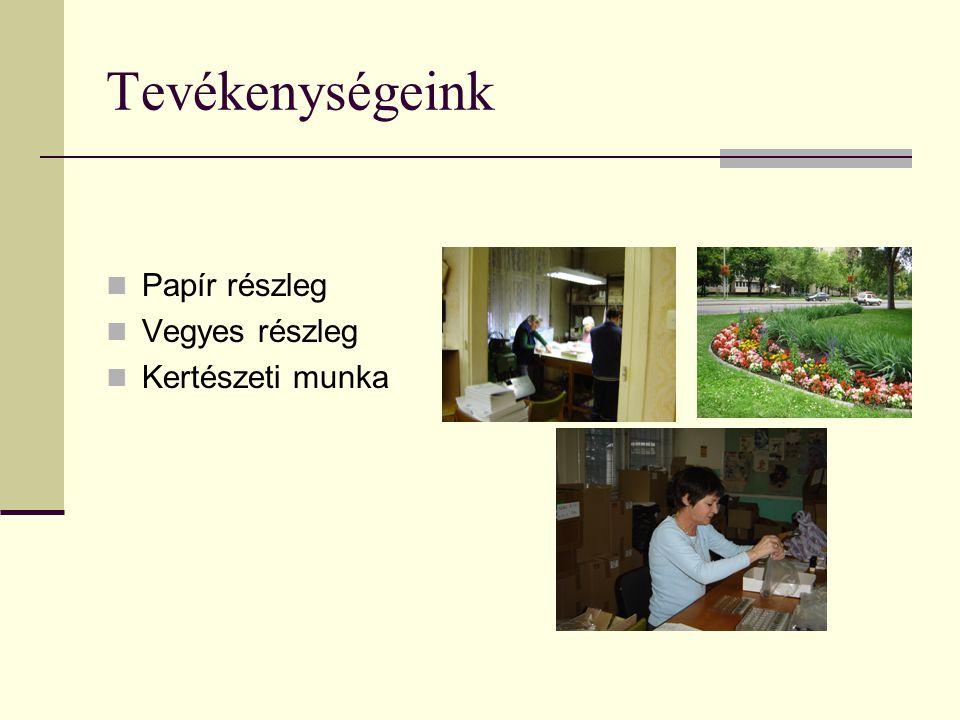 Tevékenységeink Papír részleg Vegyes részleg Kertészeti munka