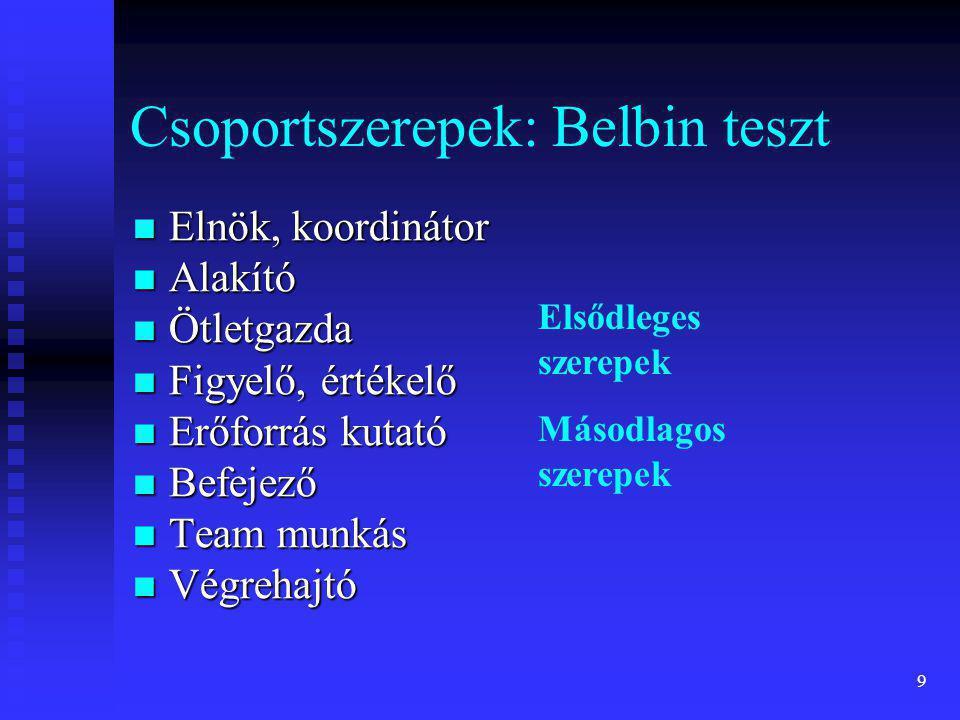 Csoportszerepek: Belbin teszt
