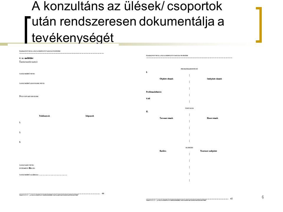 A konzultáns az ülések/ csoportok után rendszeresen dokumentálja a tevékenységét