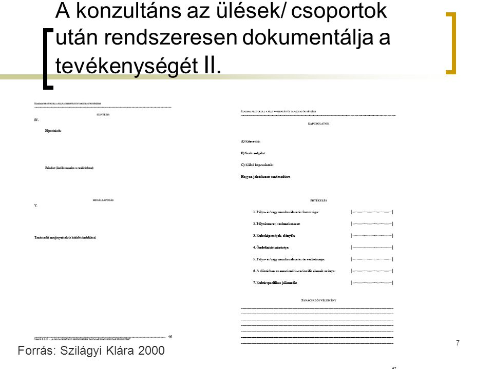A konzultáns az ülések/ csoportok után rendszeresen dokumentálja a tevékenységét II.