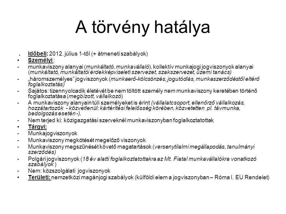 A törvény hatálya . Időbeli: 2012. július 1-től (+ átmeneti szabályok)