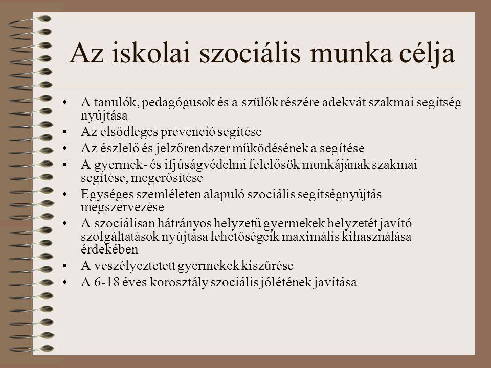 Az iskolai szociális munka célja