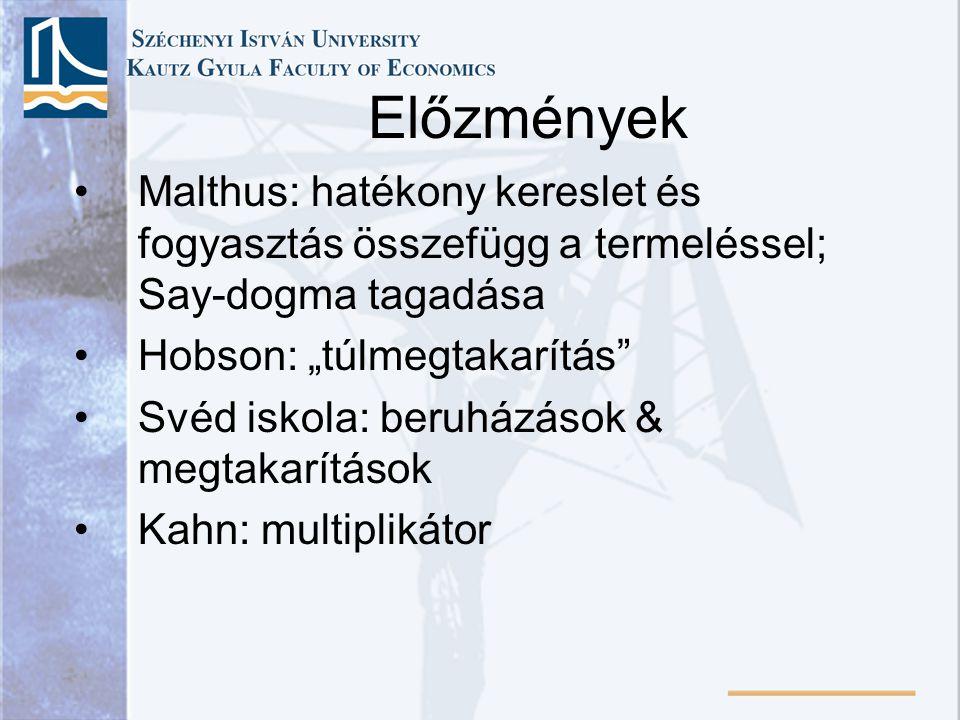 """Előzmények Malthus: hatékony kereslet és fogyasztás összefügg a termeléssel; Say-dogma tagadása. Hobson: """"túlmegtakarítás"""