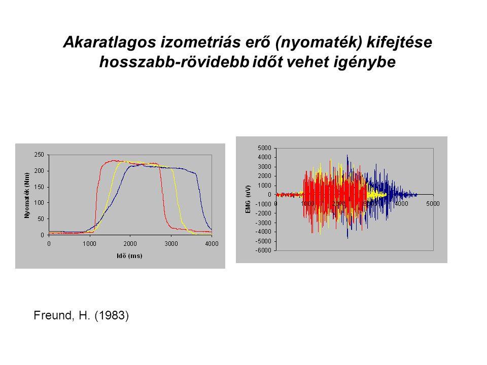Akaratlagos izometriás erő (nyomaték) kifejtése hosszabb-rövidebb időt vehet igénybe