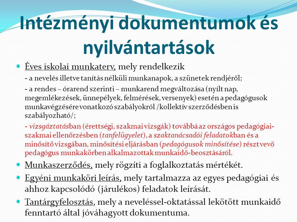 Intézményi dokumentumok és nyilvántartások