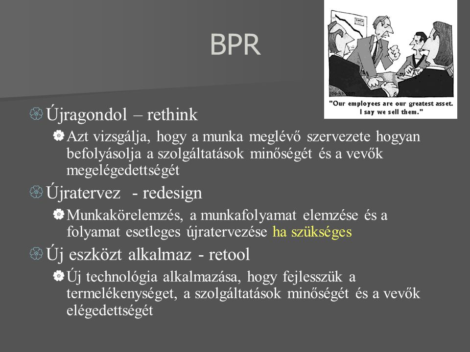 BPR Újragondol – rethink Újratervez - redesign