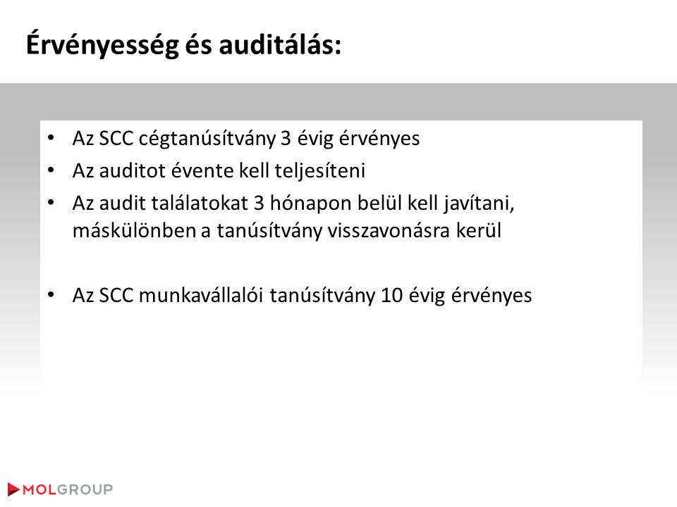 Érvényesség és auditálás: