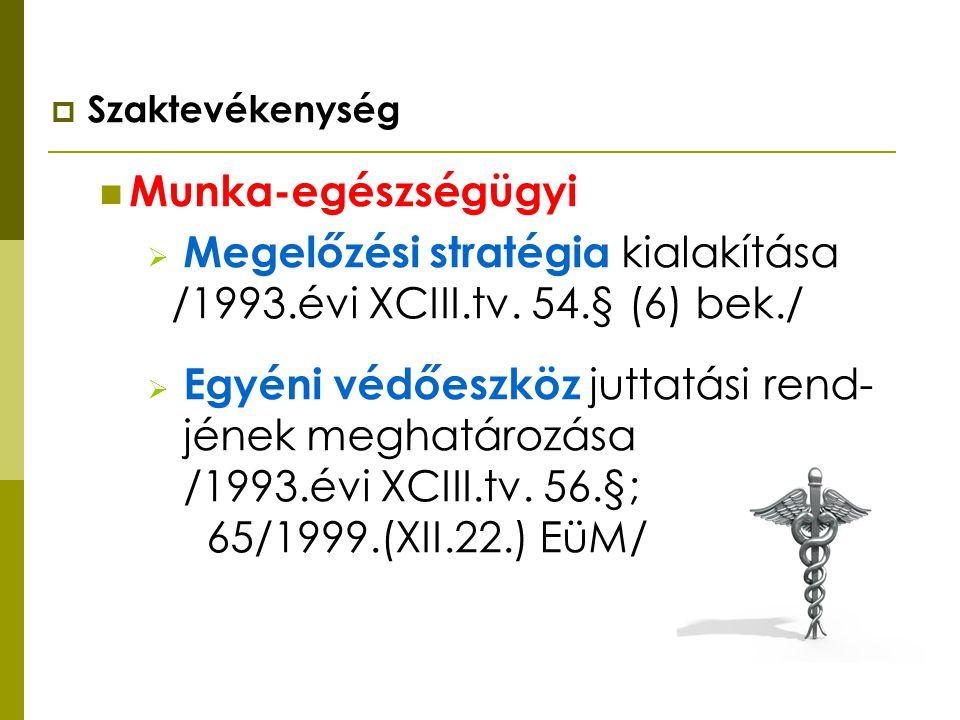 Megelőzési stratégia kialakítása /1993.évi XCIII.tv. 54.§ (6) bek./