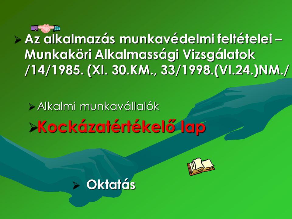 Az alkalmazás munkavédelmi feltételei – Munkaköri Alkalmassági Vizsgálatok /14/1985. (XI. 30.KM., 33/1998.(VI.24.)NM./