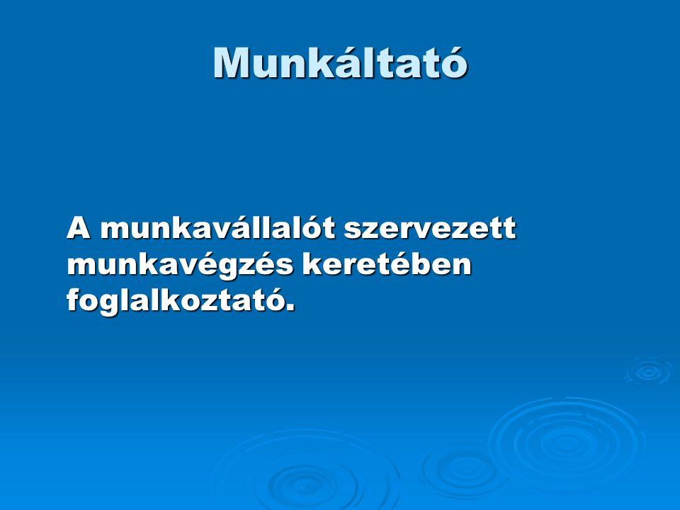 Munkáltató A munkavállalót szervezett munkavégzés keretében foglalkoztató.