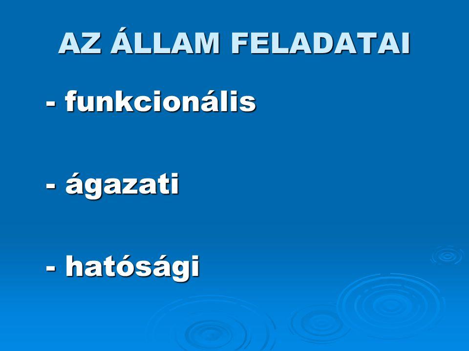 AZ ÁLLAM FELADATAI - funkcionális - ágazati - hatósági