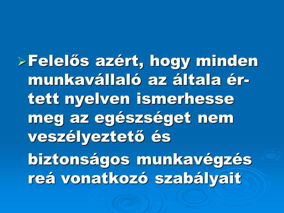 Felelős azért, hogy minden munkavállaló az általa ér-tett nyelven ismerhesse meg az egészséget nem veszélyeztető és