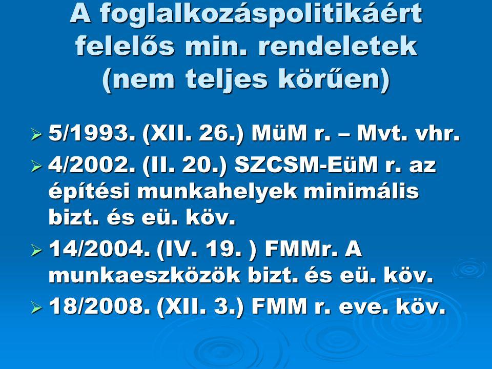 A foglalkozáspolitikáért felelős min. rendeletek (nem teljes körűen)