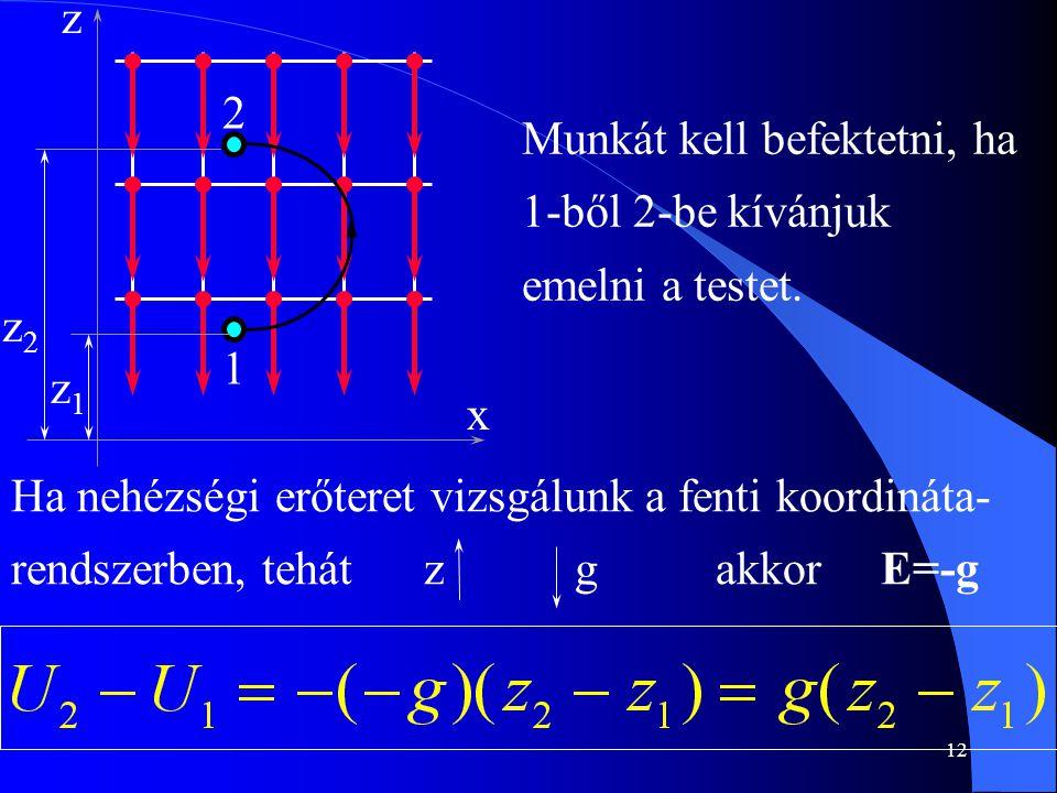 z2 x. z. 2. 1. z1. Munkát kell befektetni, ha 1-ből 2-be kívánjuk emelni a testet.