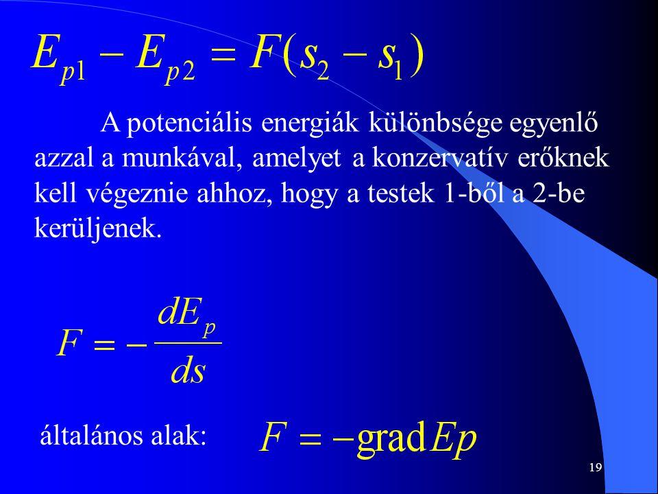 A potenciális energiák különbsége egyenlő azzal a munkával, amelyet a konzervatív erőknek kell végeznie ahhoz, hogy a testek 1-ből a 2-be kerüljenek.
