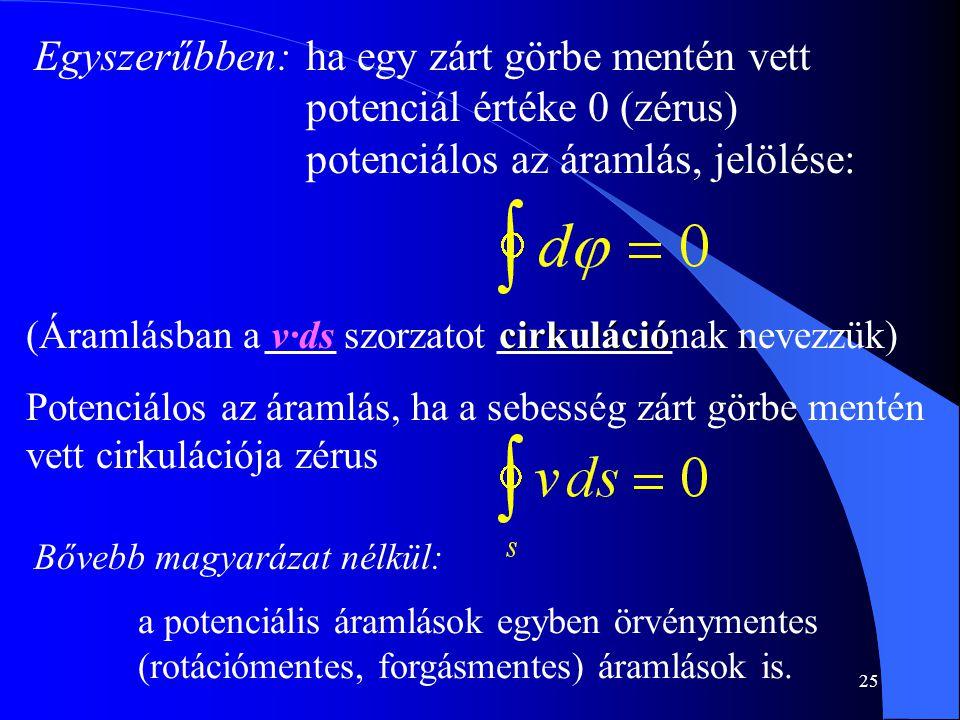 ha egy zárt görbe mentén vett potenciál értéke 0 (zérus) potenciálos az áramlás, jelölése: