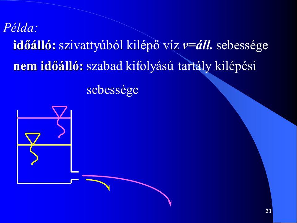 Példa: időálló: szivattyúból kilépő víz v=áll. sebessége.