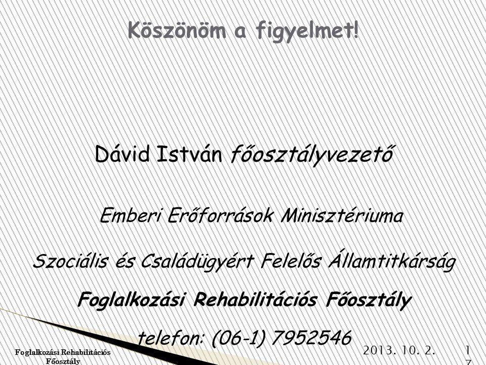 Foglalkozási Rehabilitációs Főosztály
