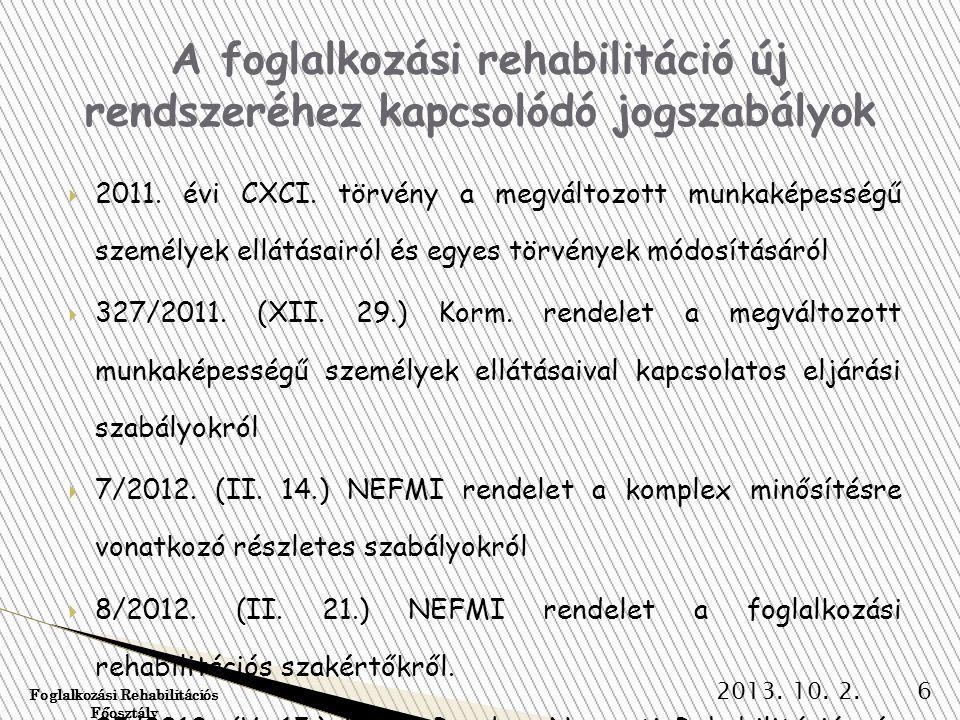 A foglalkozási rehabilitáció új rendszeréhez kapcsolódó jogszabályok