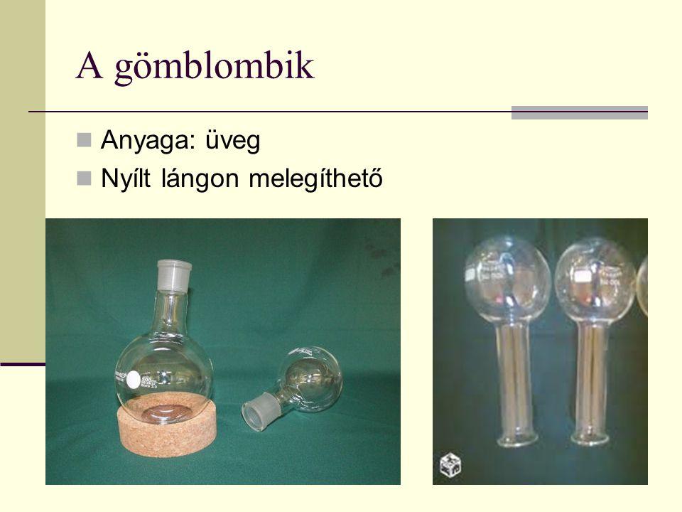 A gömblombik Anyaga: üveg Nyílt lángon melegíthető