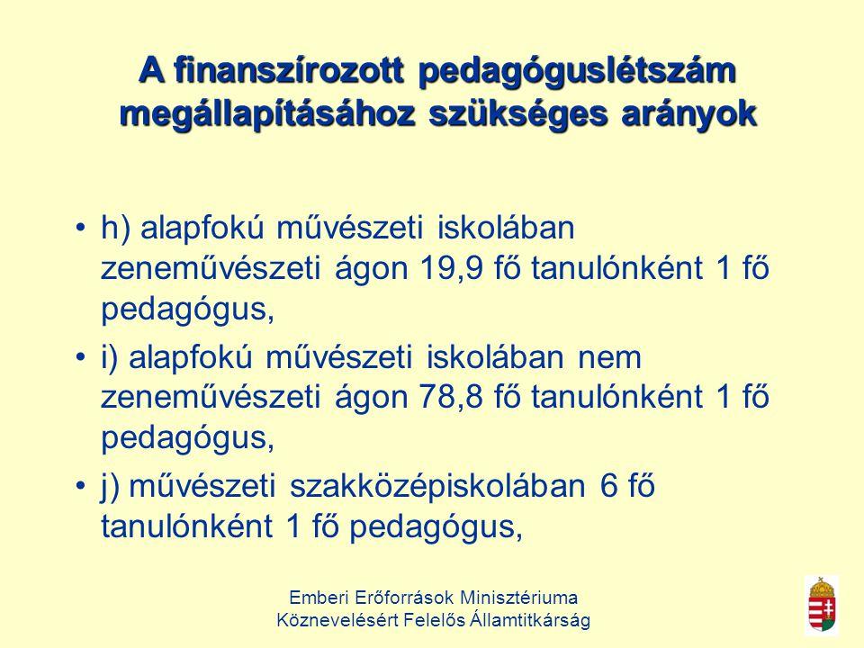 A finanszírozott pedagóguslétszám megállapításához szükséges arányok