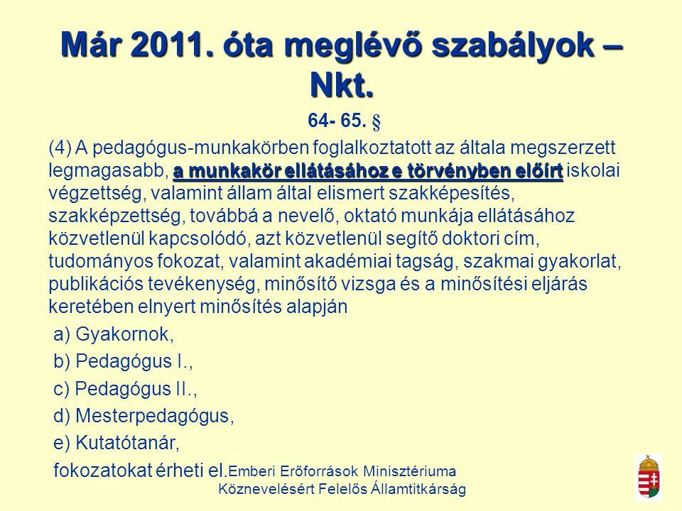 Már 2011. óta meglévő szabályok – Nkt.