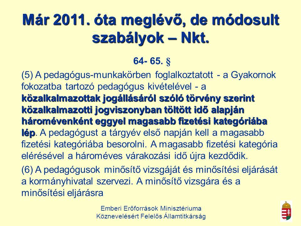 Már 2011. óta meglévő, de módosult szabályok – Nkt.