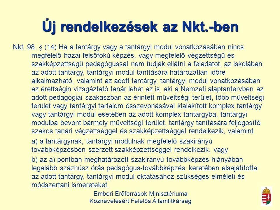 Új rendelkezések az Nkt.-ben