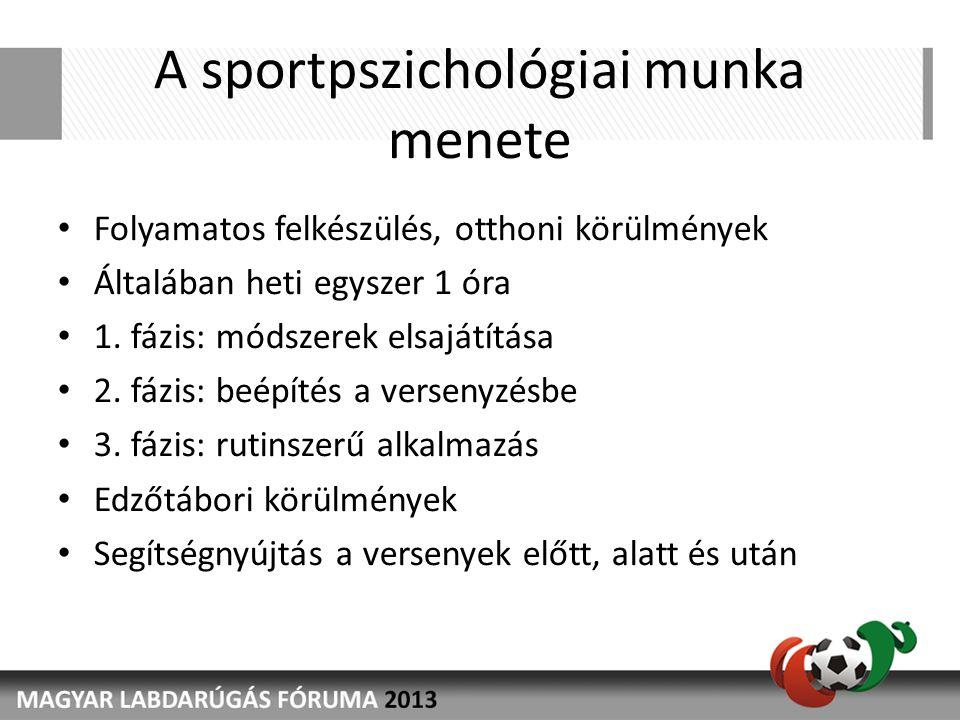 A sportpszichológiai munka menete