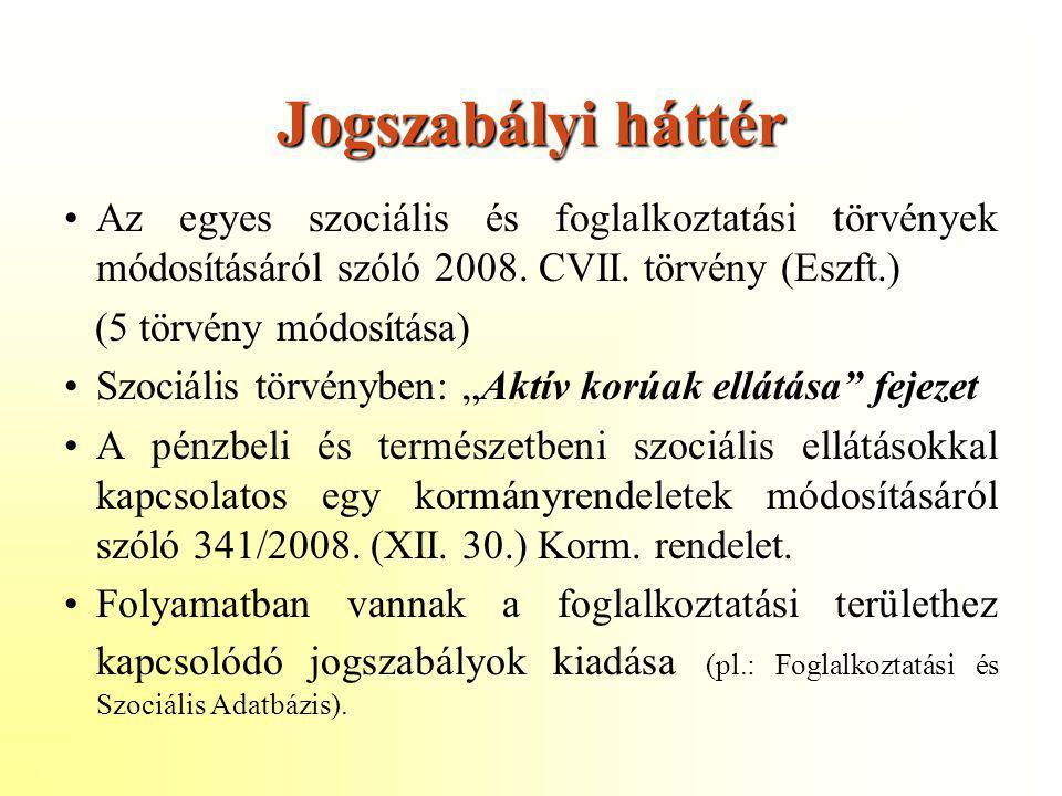 Jogszabályi háttér Az egyes szociális és foglalkoztatási törvények módosításáról szóló 2008. CVII. törvény (Eszft.)
