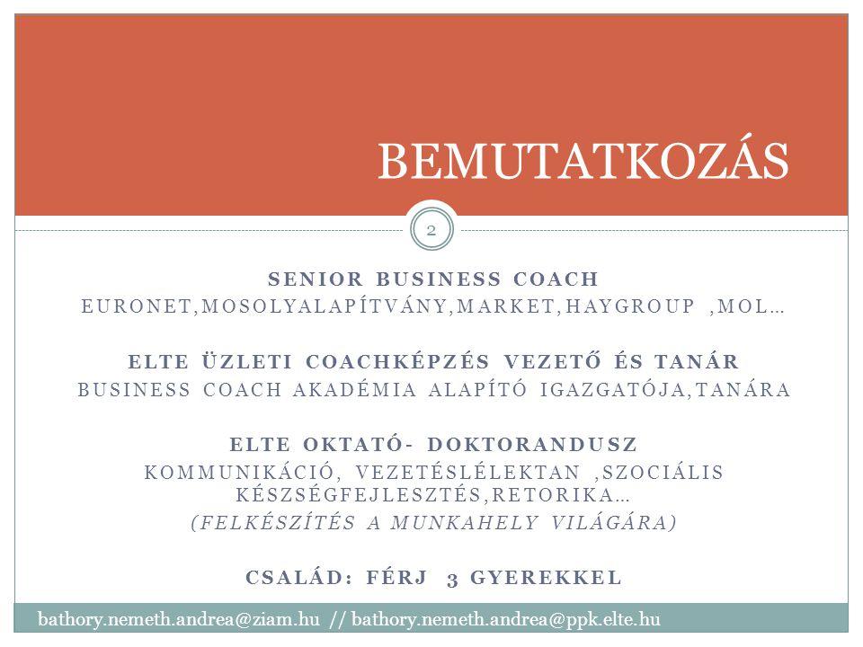 BEMUTATKOZÁS SENIOR BUSINESS COACH