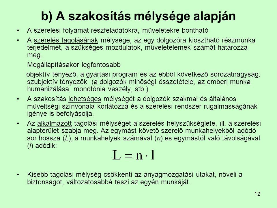 b) A szakosítás mélysége alapján