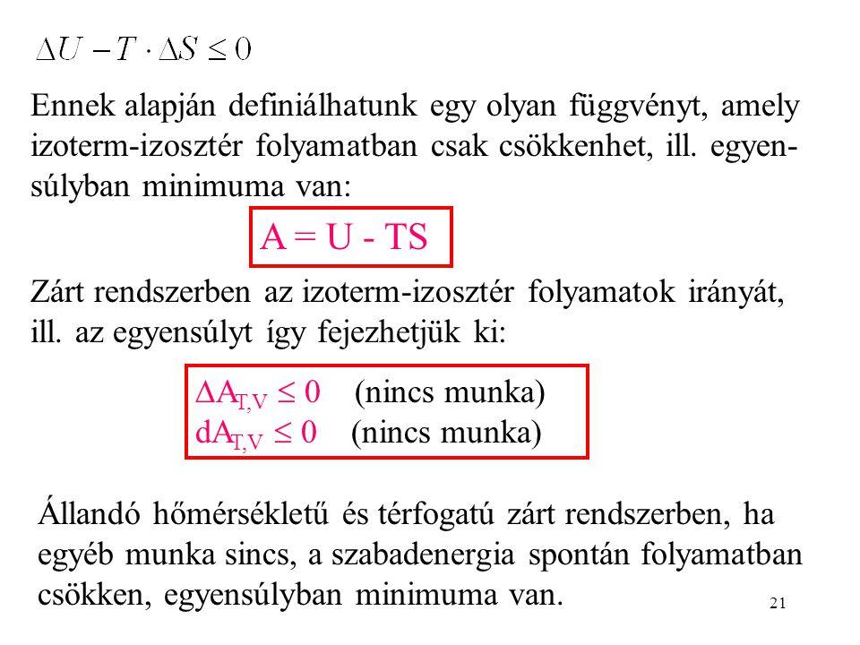 Ennek alapján definiálhatunk egy olyan függvényt, amely izoterm-izosztér folyamatban csak csökkenhet, ill. egyen-súlyban minimuma van: