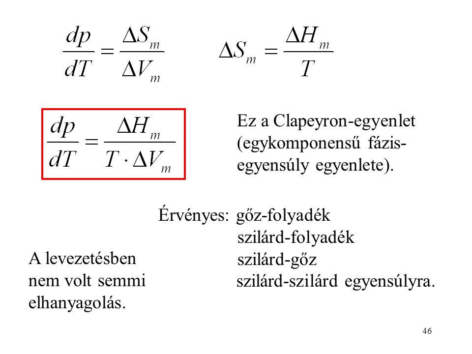 Ez a Clapeyron-egyenlet (egykomponensű fázis-egyensúly egyenlete).