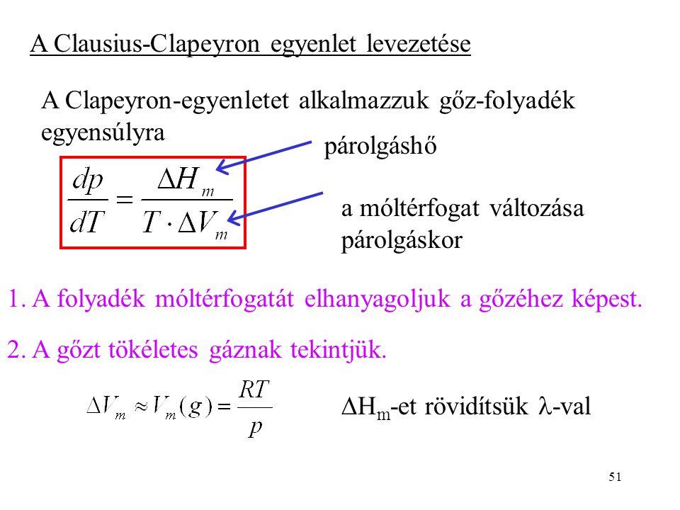 A Clausius-Clapeyron egyenlet levezetése