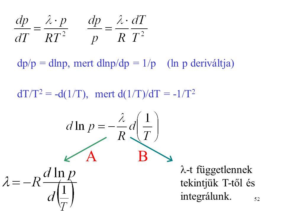 A B dp/p = dlnp, mert dlnp/dp = 1/p (ln p deriváltja)