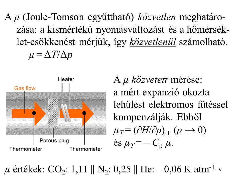 µT = (H/p)H (p → 0) és µT = – Cp µ.