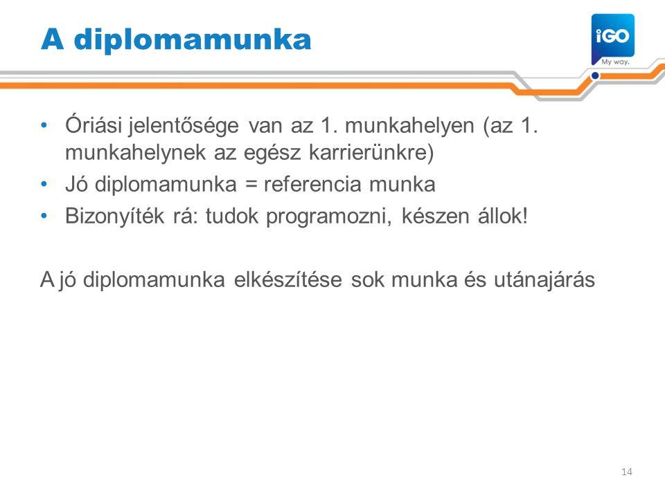 A diplomamunka Óriási jelentősége van az 1. munkahelyen (az 1. munkahelynek az egész karrierünkre) Jó diplomamunka = referencia munka.