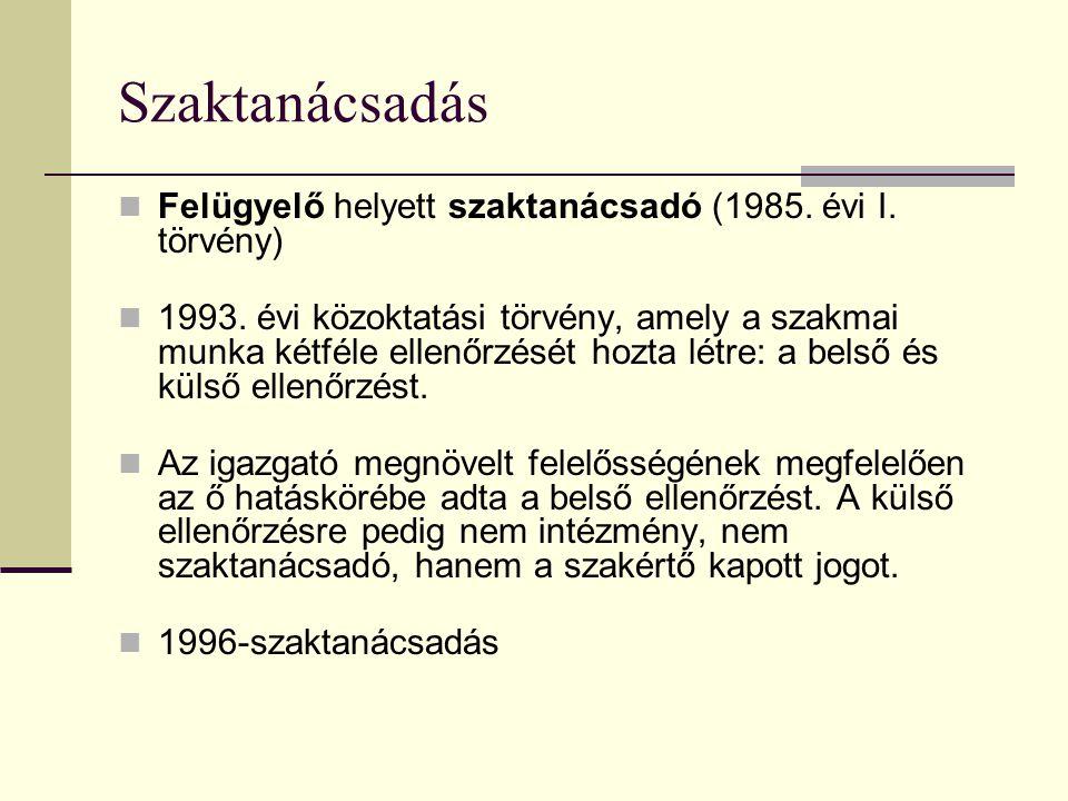 Szaktanácsadás Felügyelő helyett szaktanácsadó (1985. évi I. törvény)