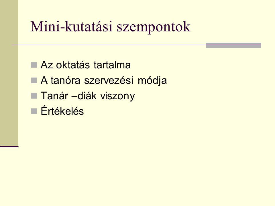 Mini-kutatási szempontok