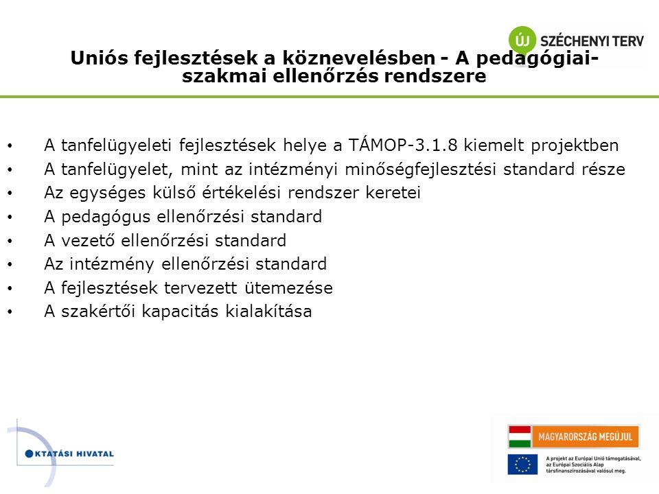 Uniós fejlesztések a köznevelésben - A pedagógiai- szakmai ellenőrzés rendszere