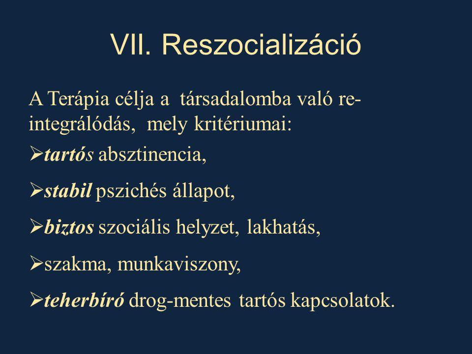 VII. Reszocializáció A Terápia célja a társadalomba való re-integrálódás, mely kritériumai: tartós absztinencia,