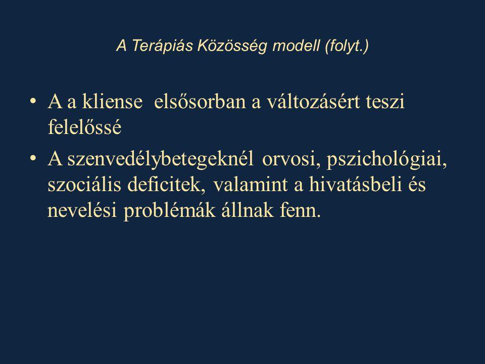 A Terápiás Közösség modell (folyt.)
