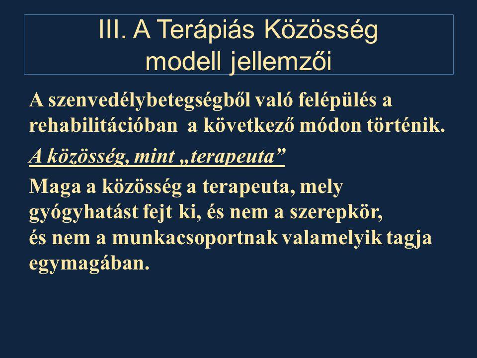 III. A Terápiás Közösség modell jellemzői