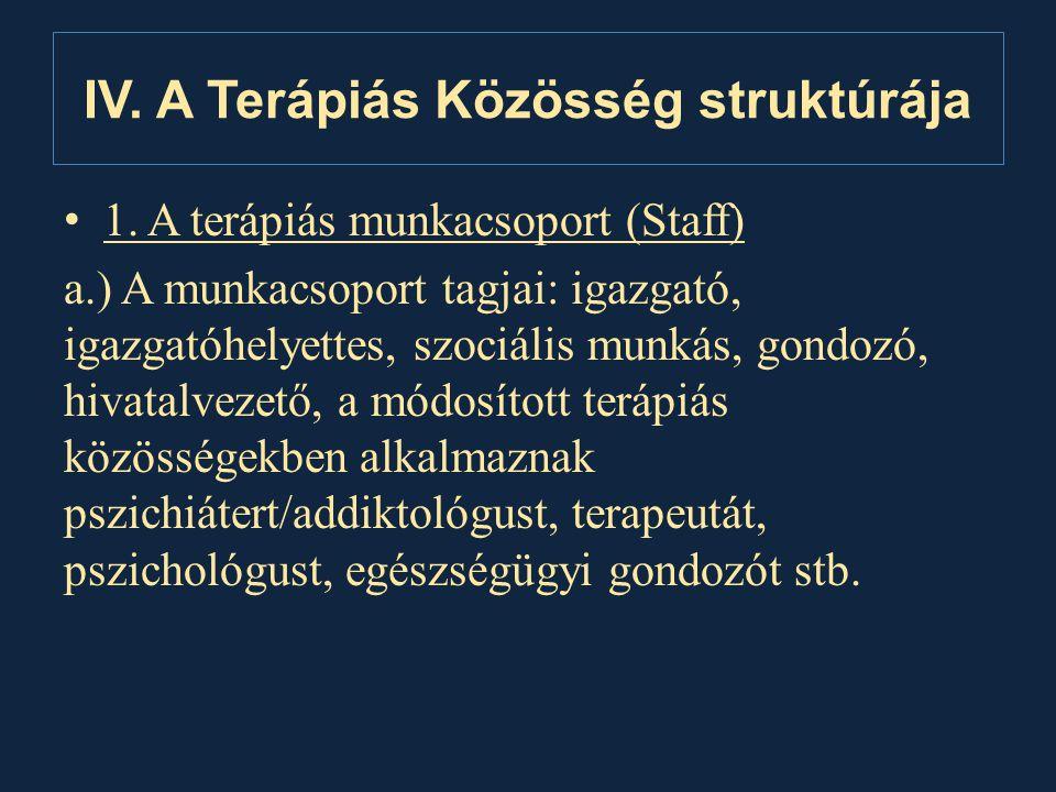 IV. A Terápiás Közösség struktúrája