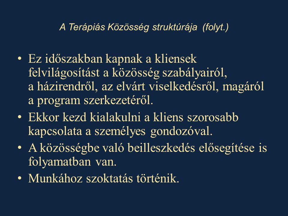 A Terápiás Közösség struktúrája (folyt.)