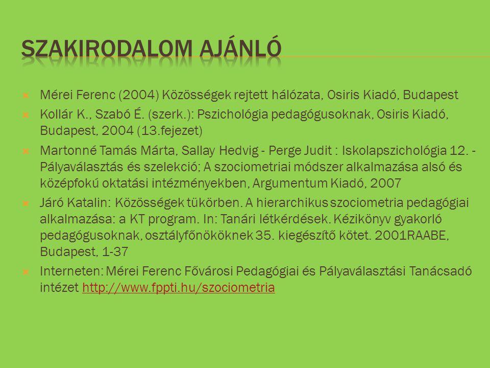 Szakirodalom ajánló Mérei Ferenc (2004) Közösségek rejtett hálózata, Osiris Kiadó, Budapest.