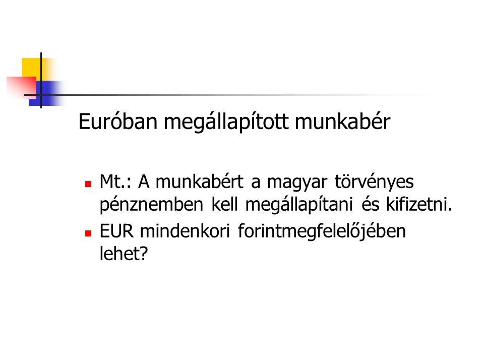 Euróban megállapított munkabér