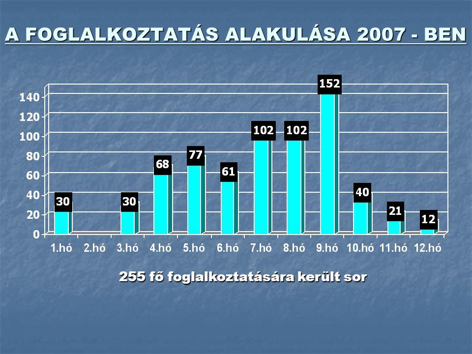 A FOGLALKOZTATÁS ALAKULÁSA 2007 - BEN